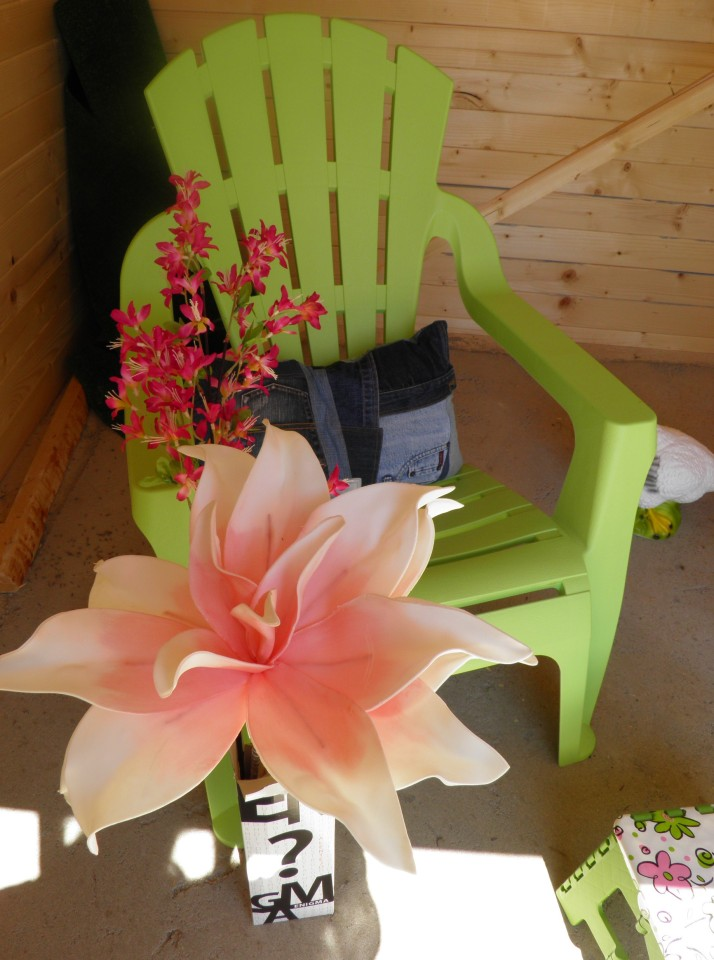 My lime green planter chairs, upcycled denim cushions and foam flowers